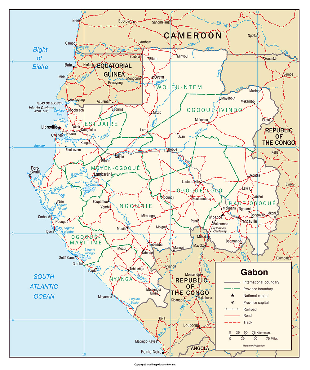 Printable Map of Gabon: