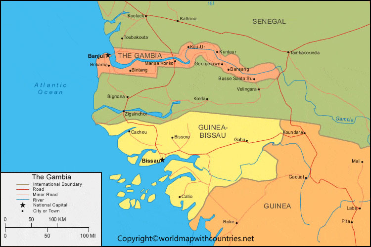 Printable Map of Gambia
