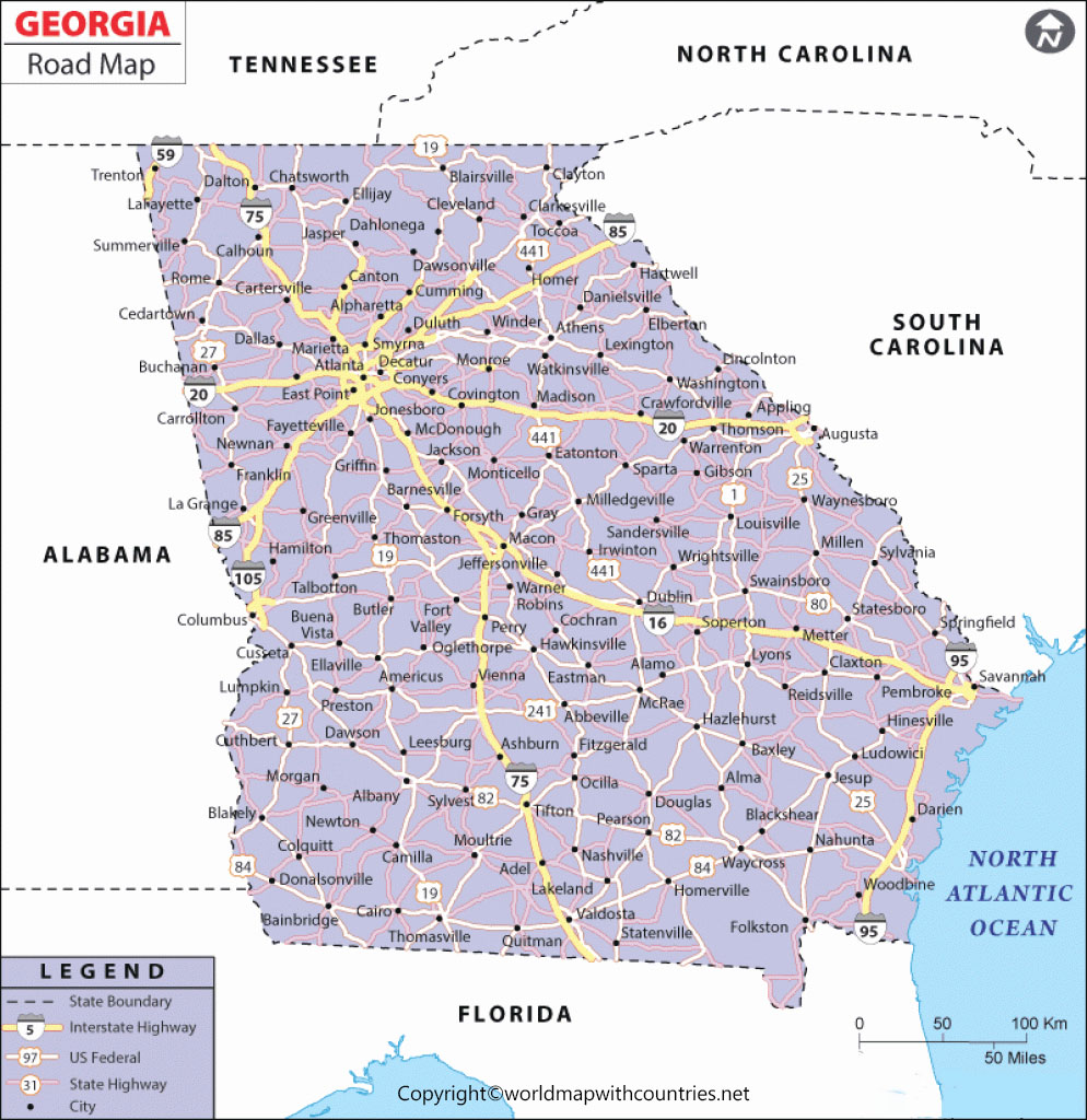 Printable Map of Georgia