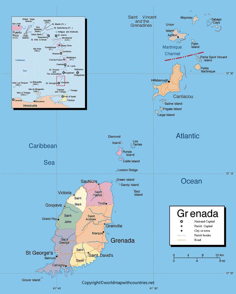 Printable Map of Grenada