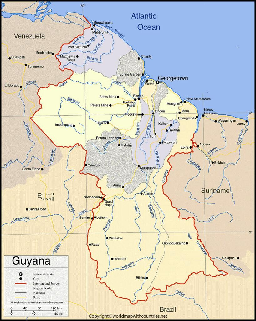 Printable Map of Guyana