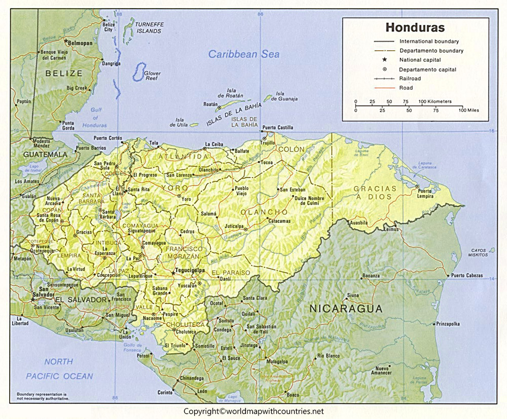 Honduras Map with States