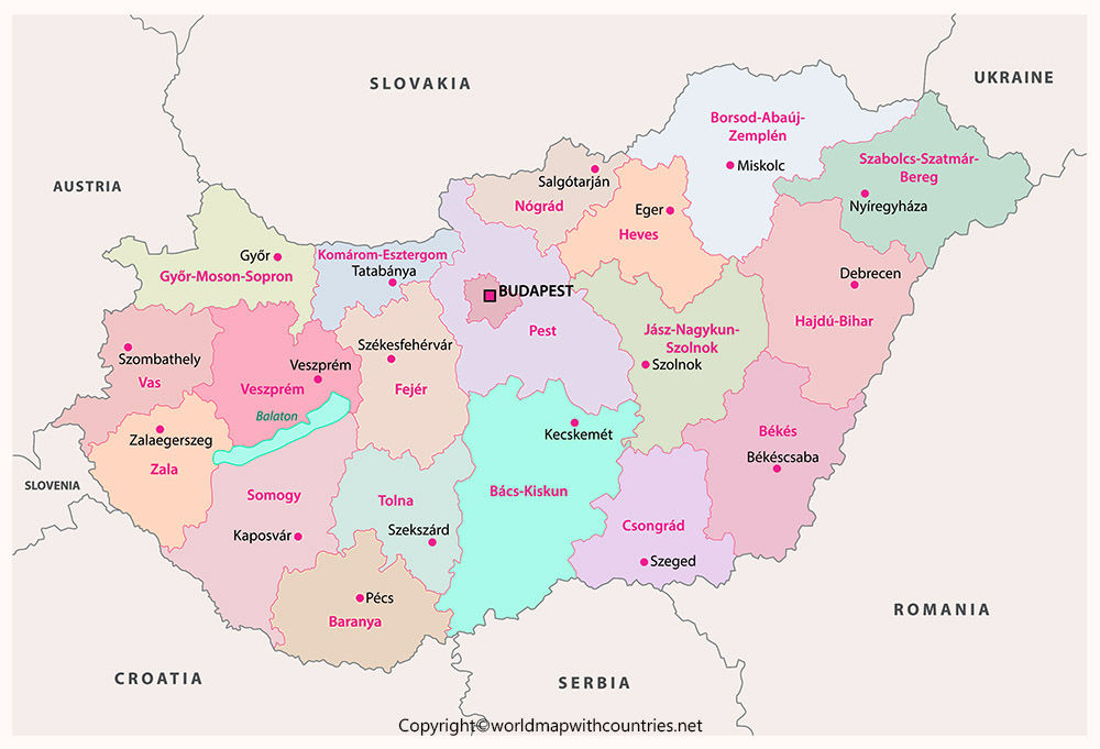Printable Map of Hungary