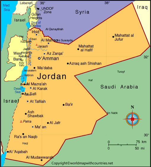 Printable Map of Jordan