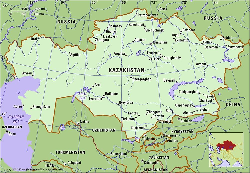 Printable Map of Kazakhstan