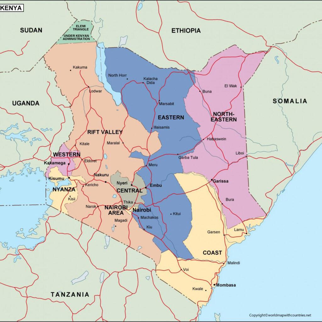 Printable Map of Kenya