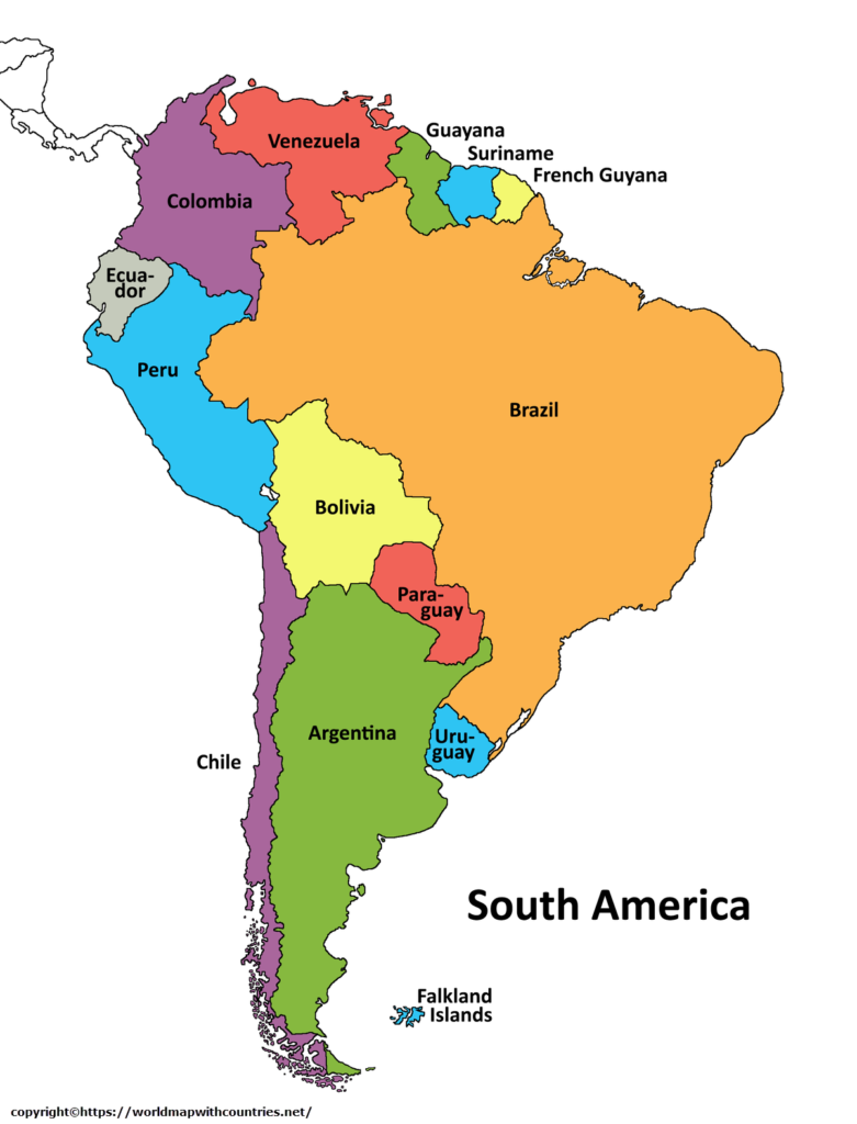 Political Map of South America with Countries Labeled