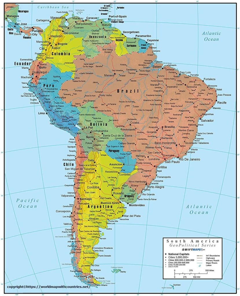 South America Political Map with Countries and Capitals