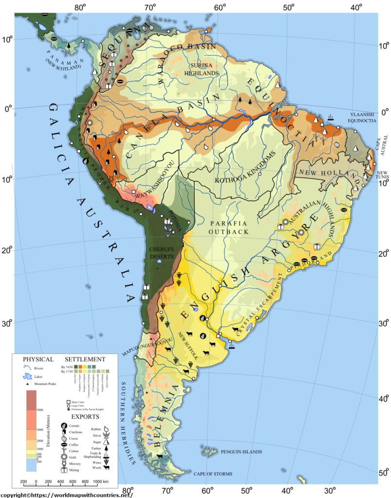 Political South America Map with Countries