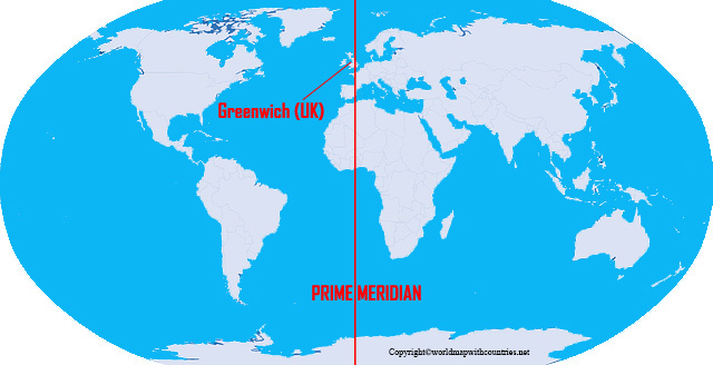 Free World Map with Prime Meridian