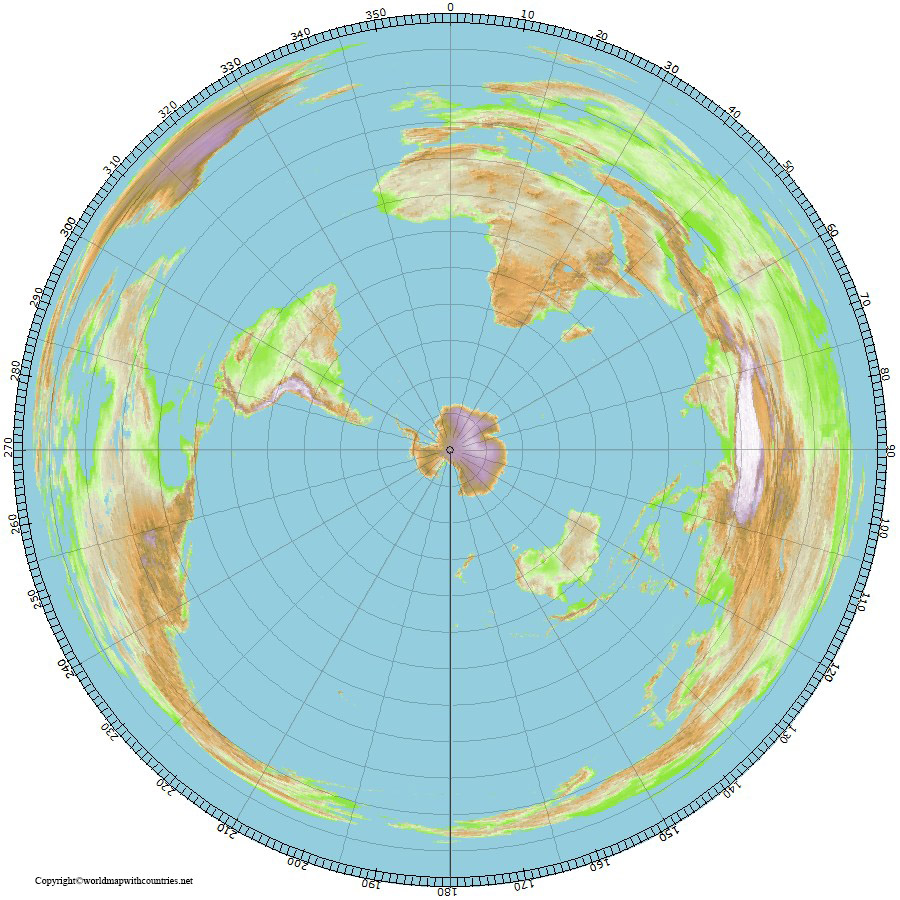 Free World Map with South Pole