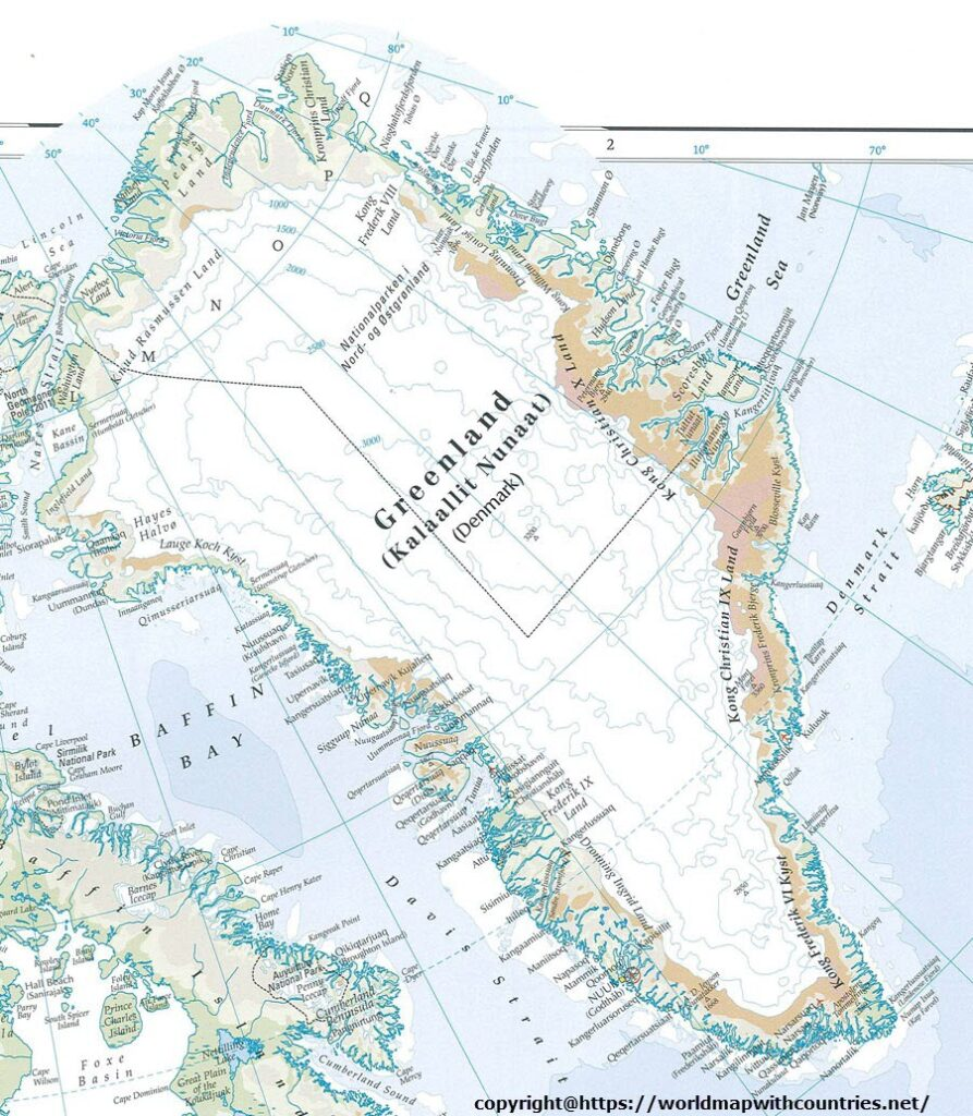 Printable Map Of Greenland
