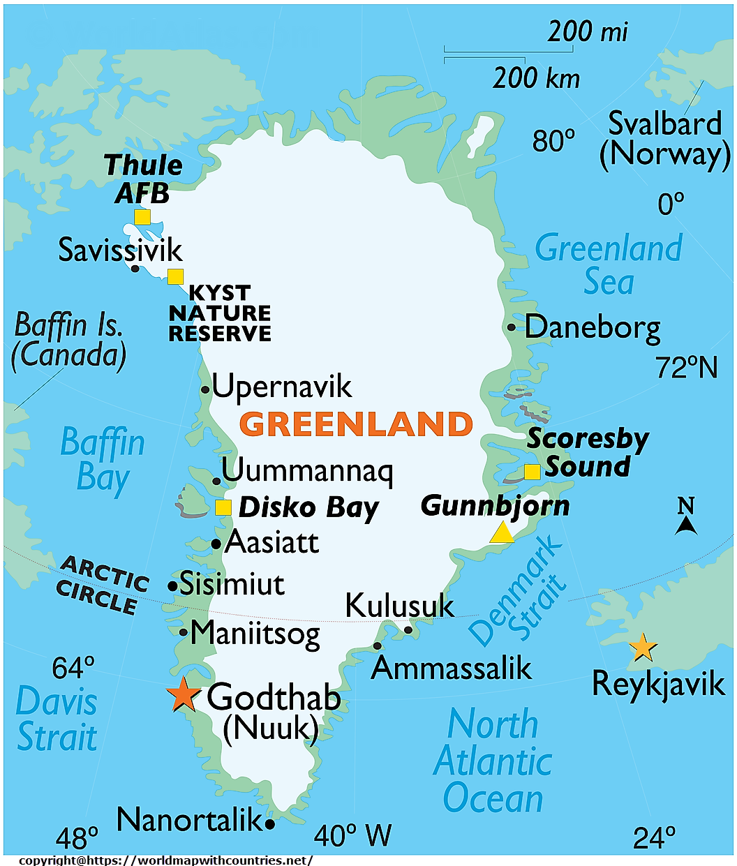 greenland labeled map