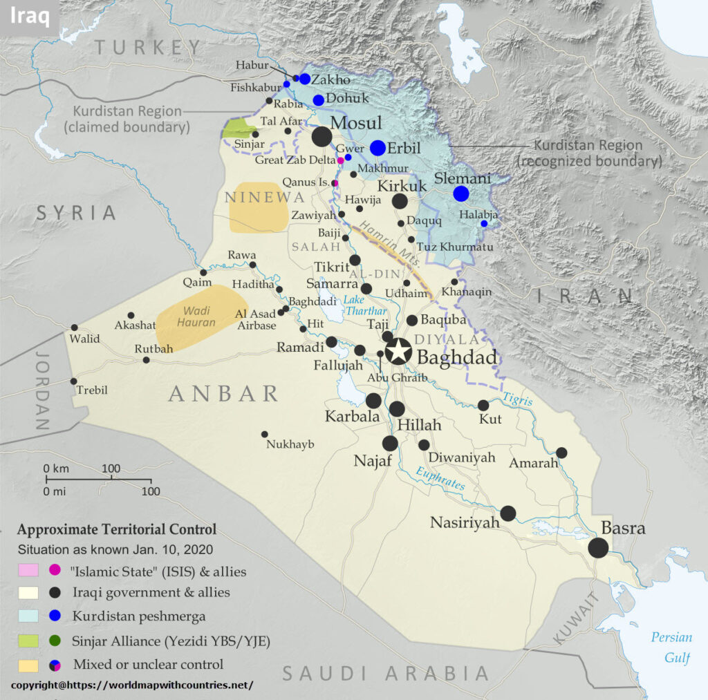 Iraq Map With State