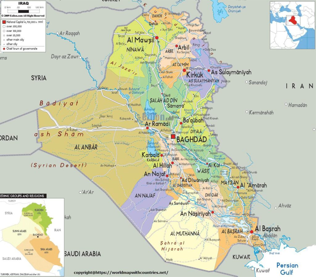 Labeled Map Of Iraq
