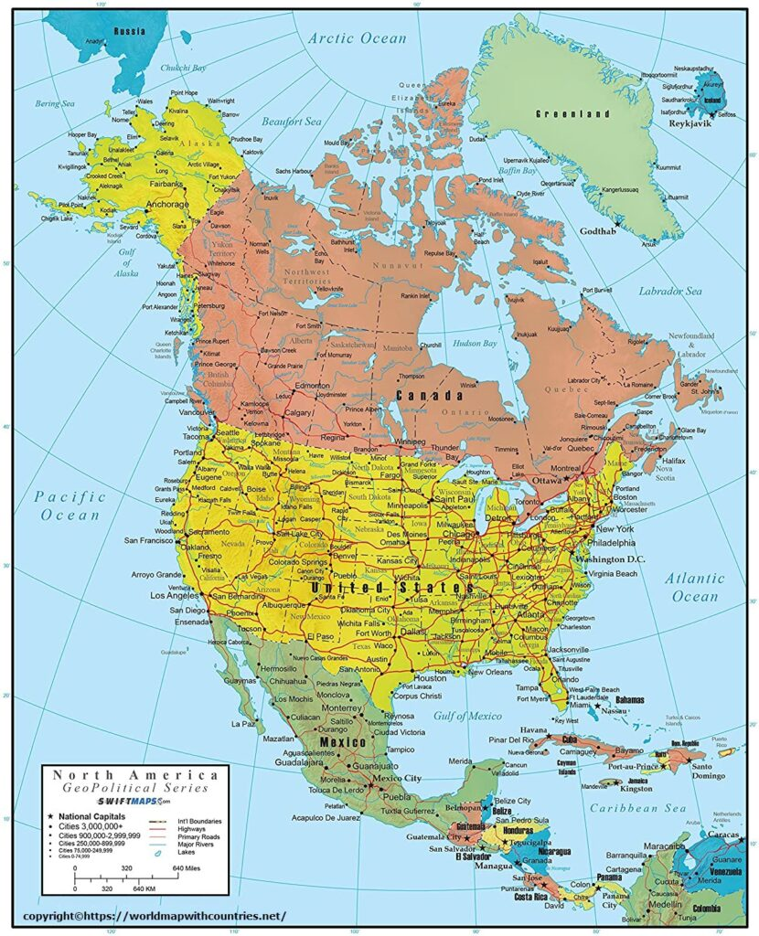 North America Political Map with Countries and Capitals