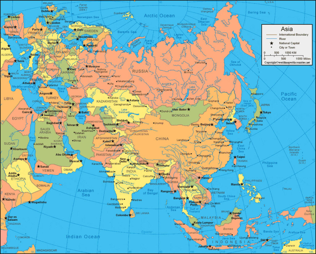 Asia Political Map with Countries and Capitals: