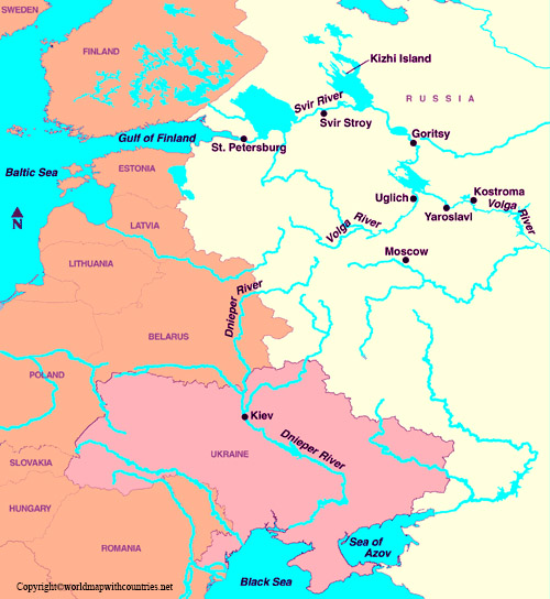 Map of Europe rivers