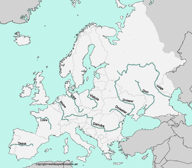 Map of Europe with rivers