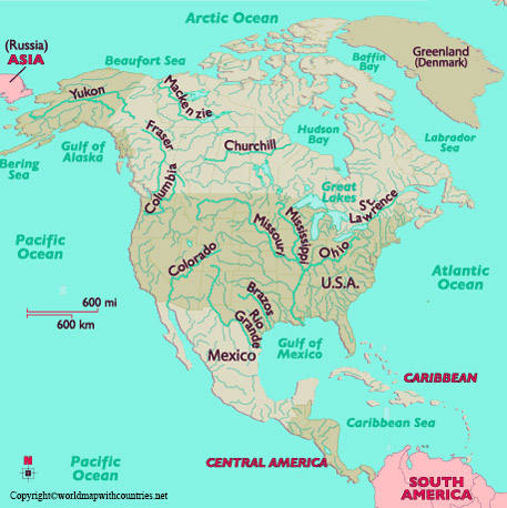 Map of North America Rivers