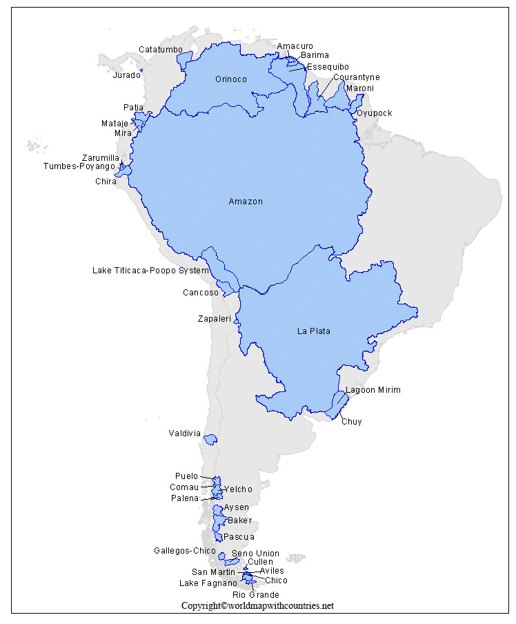 Map of South America Rivers