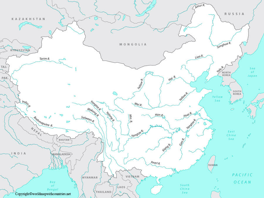 Map of Asia rivers Labeled: