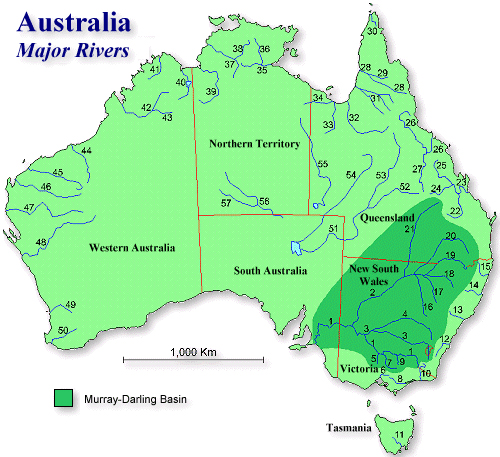 Map of Australia Rivers Labeled