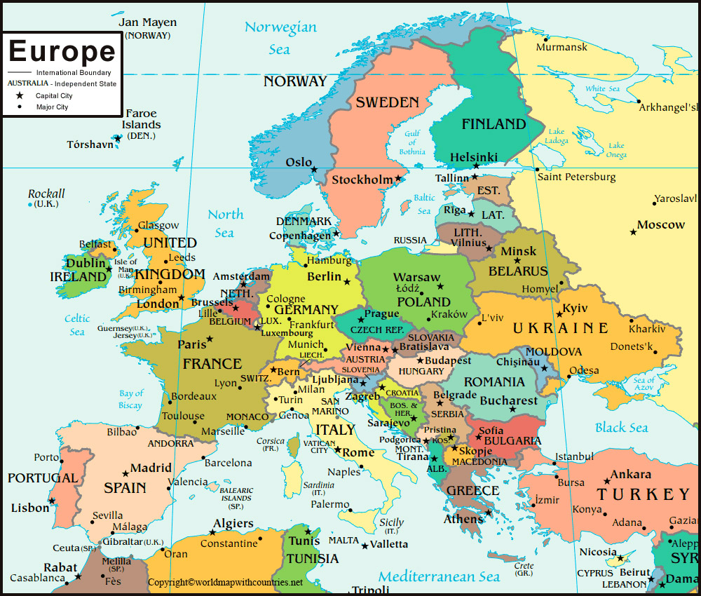 Political Europe Map with Countries: