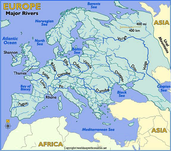 Map of Europe rivers Labeled