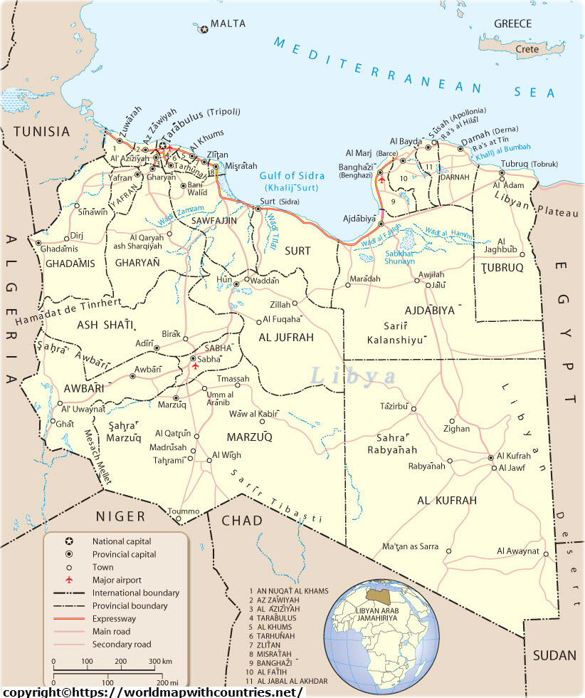 Libya Map With State