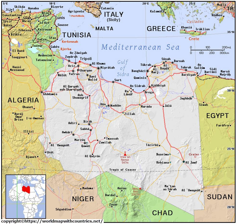 Printable Map Of Libya