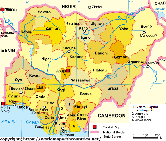 Nigeria Map With State