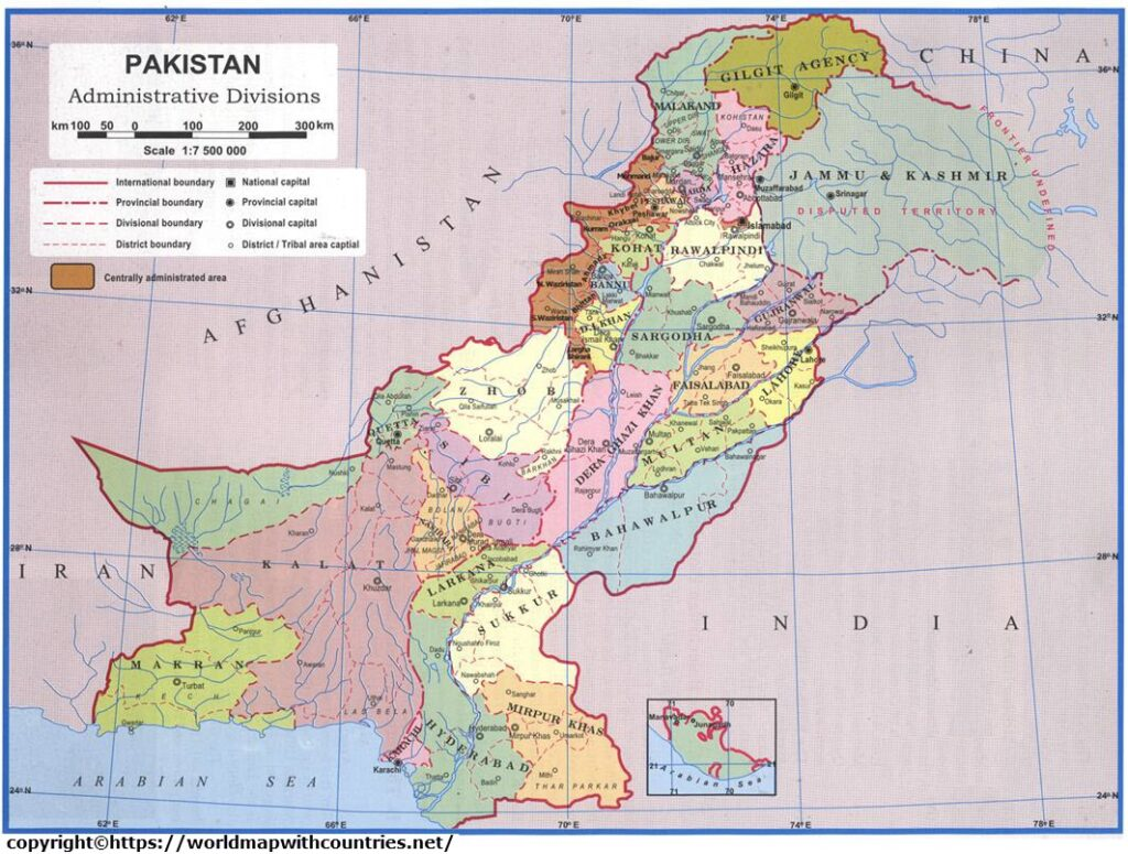 Labeled Map Of Pakistan