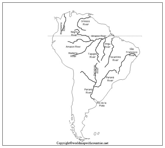 Map of South America with Rivers