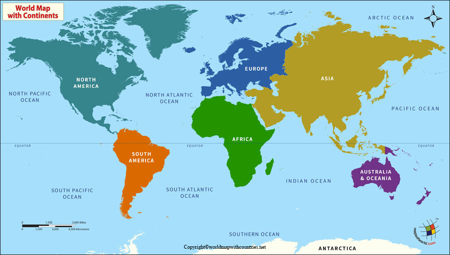 World Map With Equator and Countries