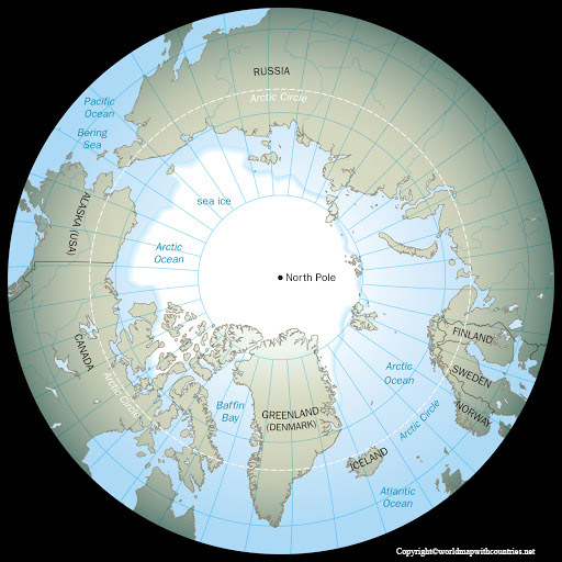 Map of World with the North Pole
