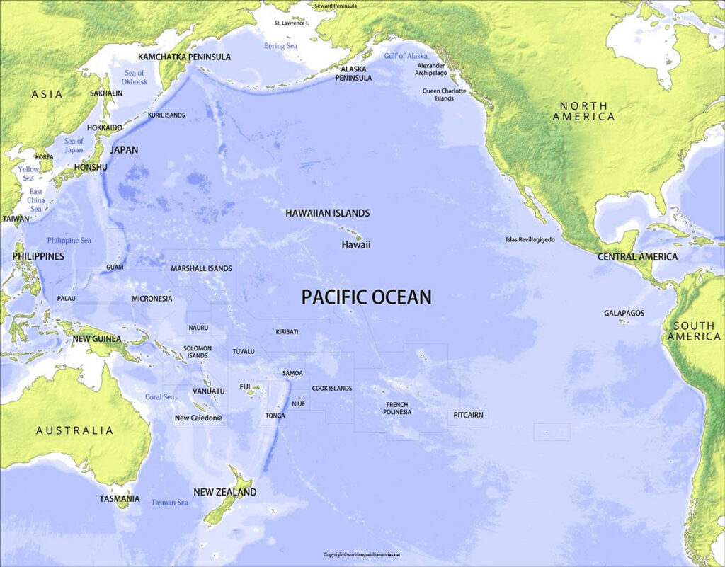 World Map with the Pacific Ocean