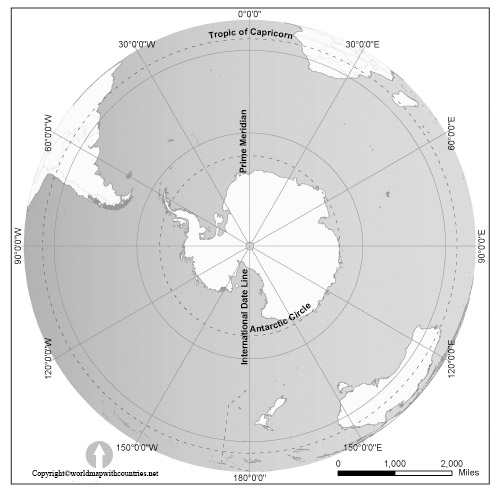 Map of World with the South Pole