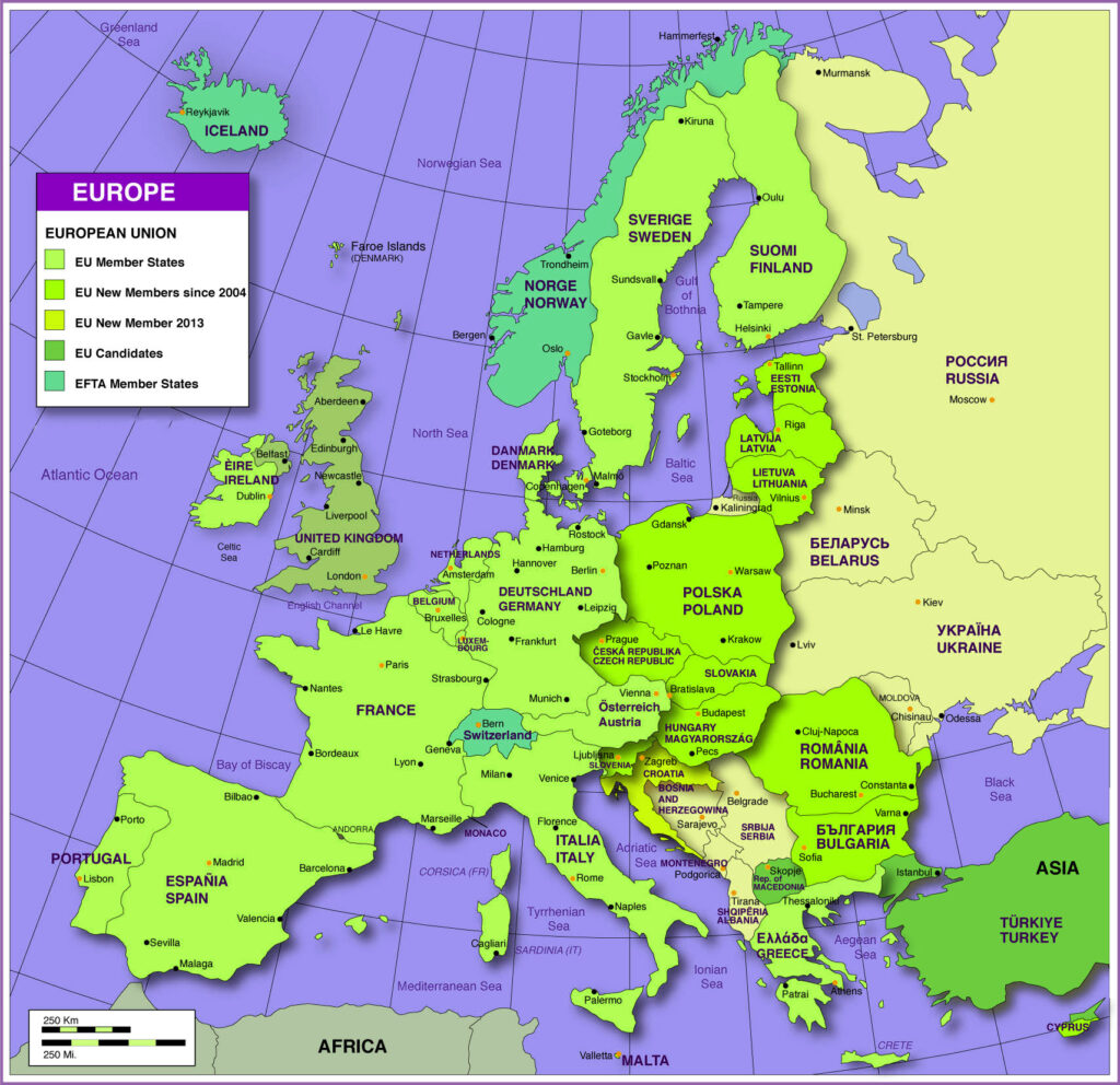 Political Map of Europe with Countries Labeled: