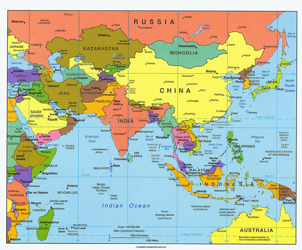 Political Asia Map with Countries