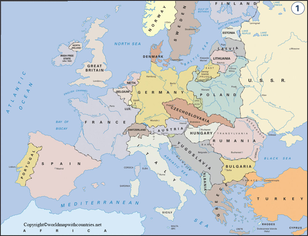 Europe Political Map with Countries and Capitals:
