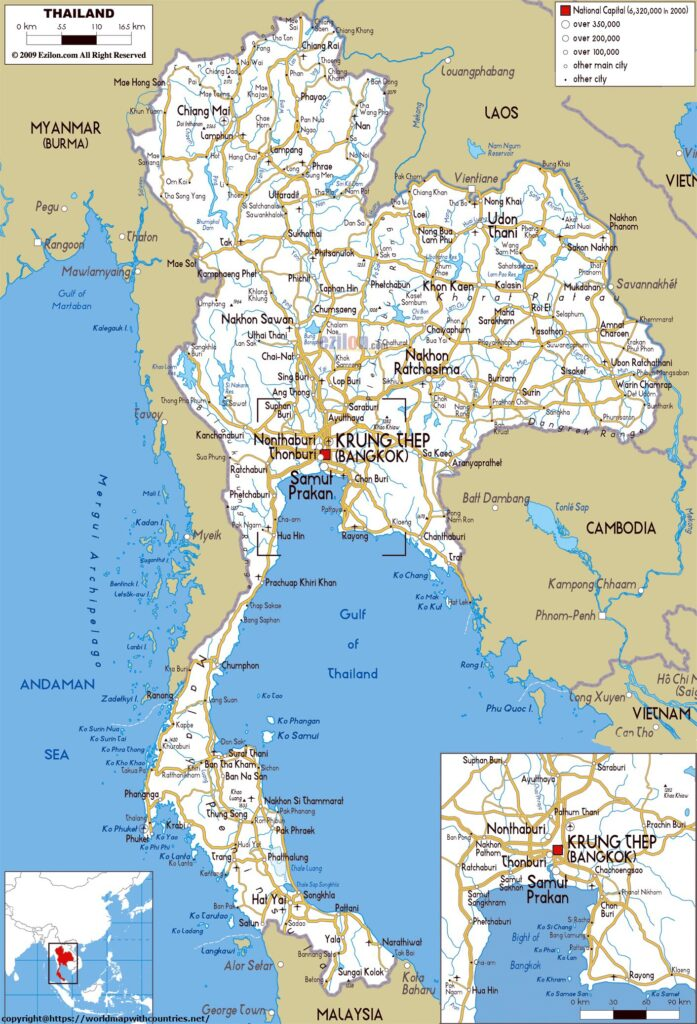 Labeled Map Of Thailand