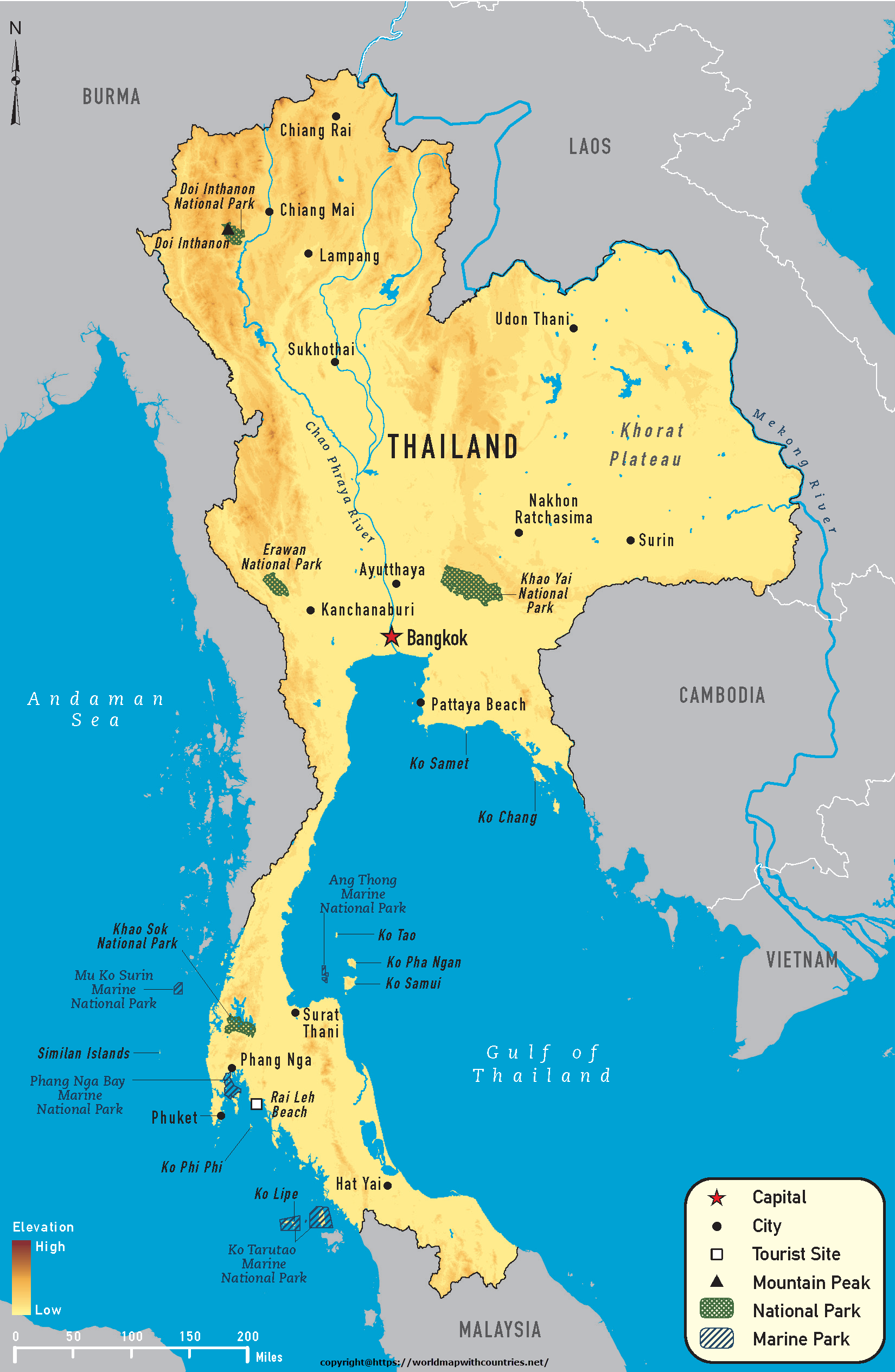 detailed maps of thailand - HD1650×2530