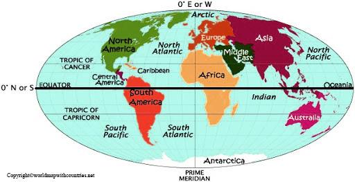 World Map with Hemisphere