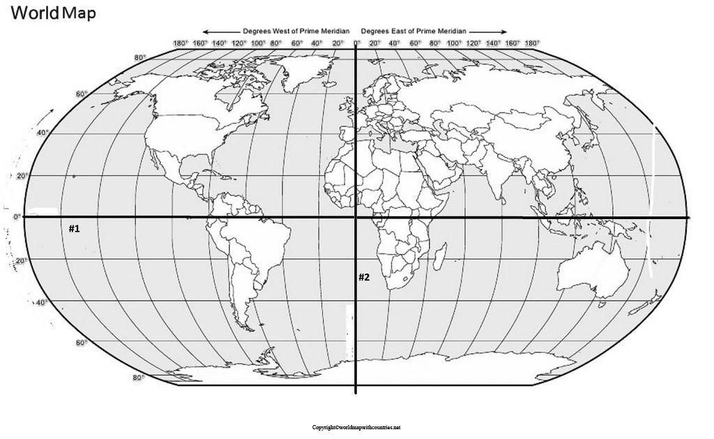 Map of World with Hemispheres