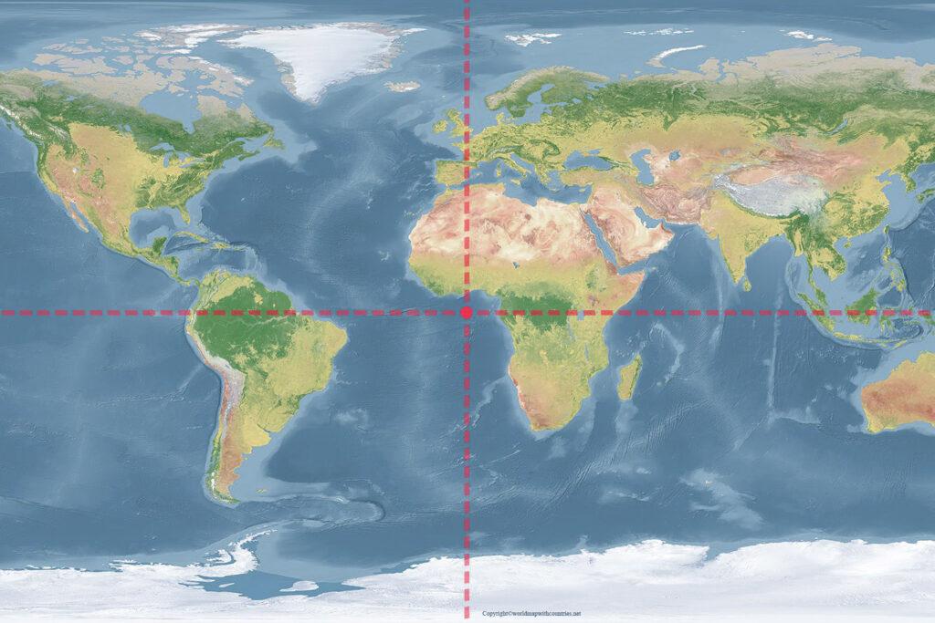 world map with longitude