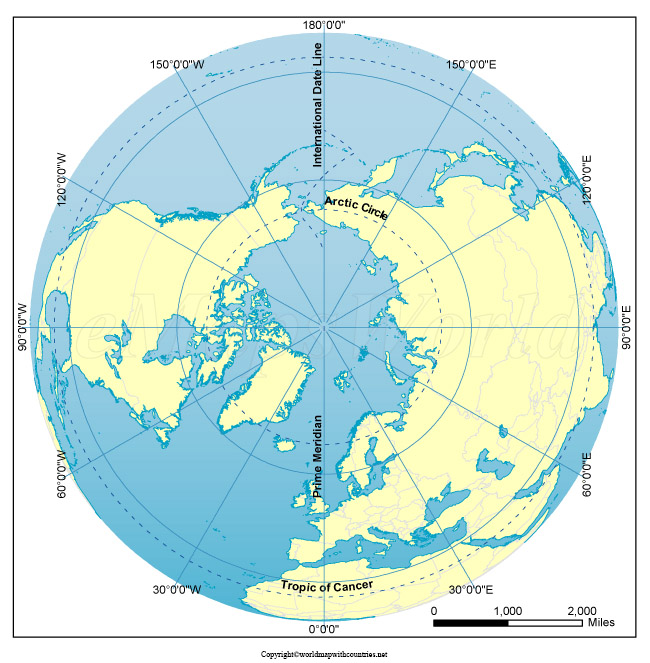 World Map with the North Pole pdf
