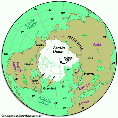 World Map with the North Pole