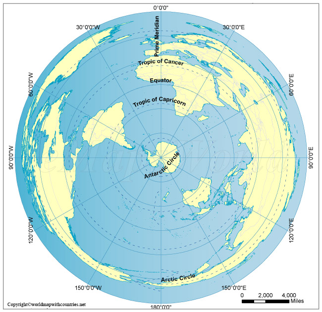 World Map with the South Pole