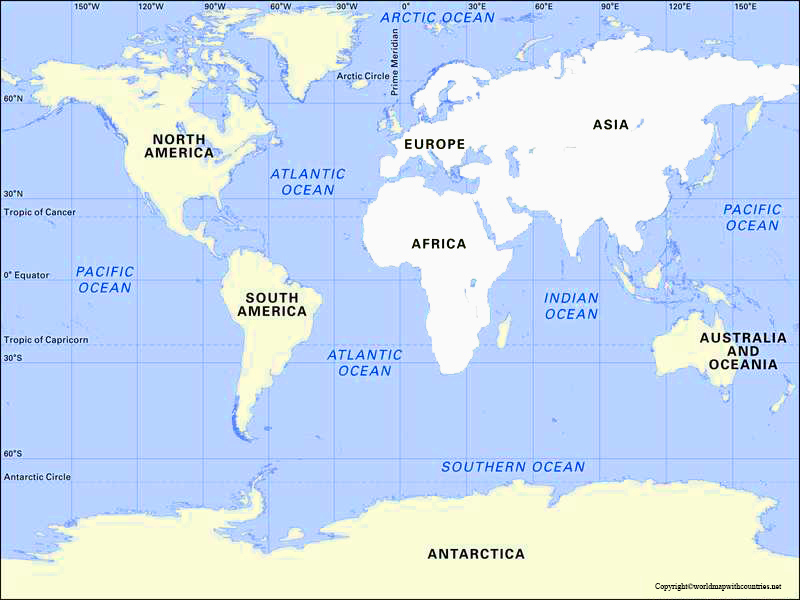 Map of World with the Southern Ocean